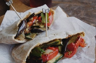 Hummus Stuffed Pita With Roasted Vegetables Recipe — Dishmaps