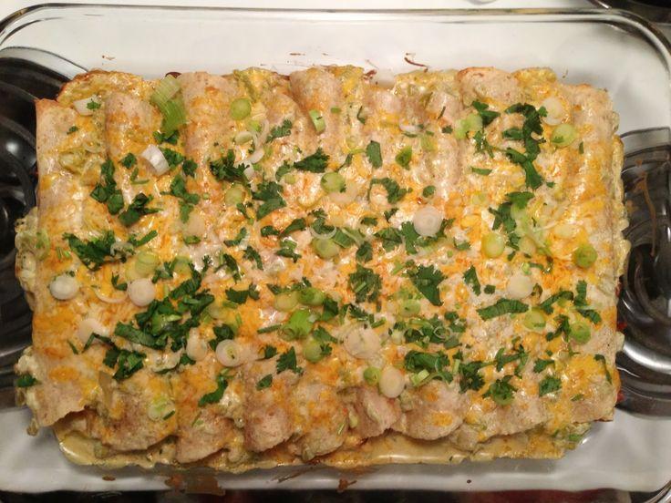 Chicken & White Bean Enchiladas with Creamy Salsa Verde