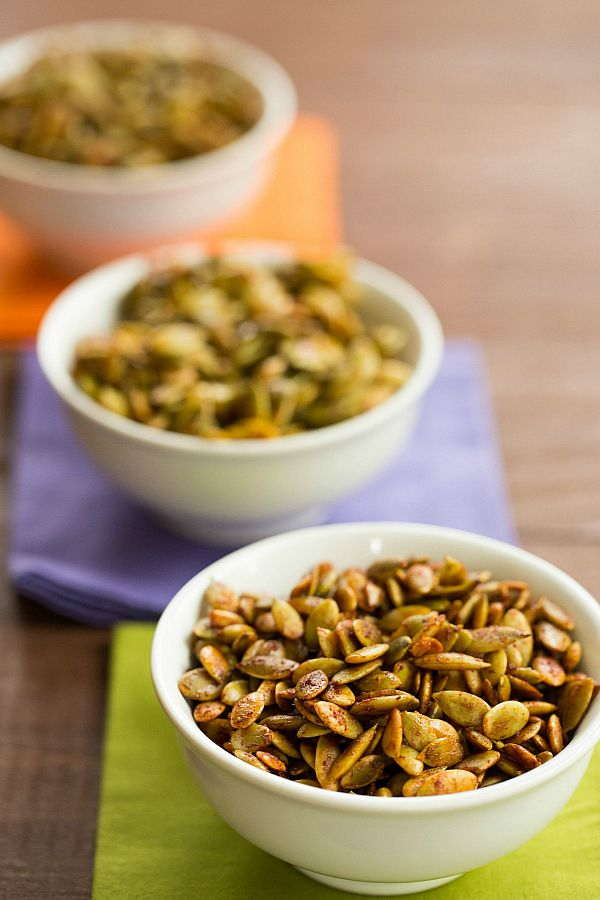 Roasted Pumpkin Seeds with 3 Spice Blends
