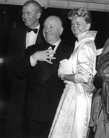 James Stewart, Alfred Hitchcock and Doris Day in 1956.
