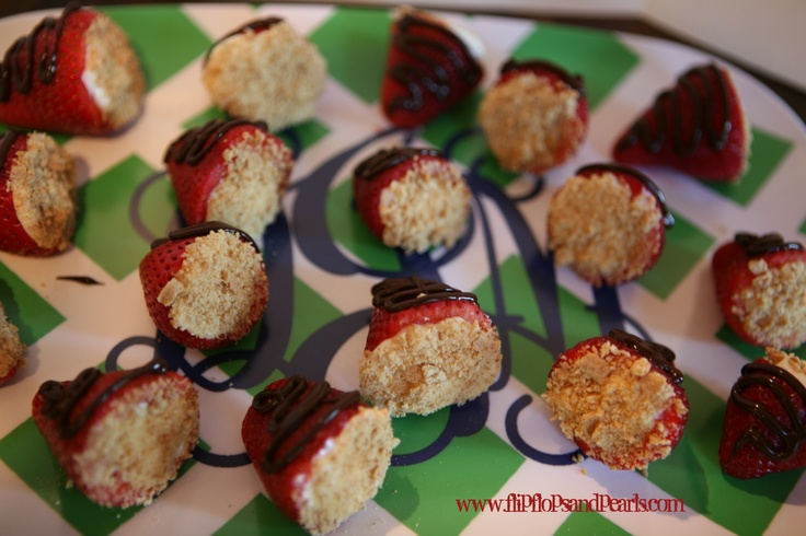 cream cheese filled strawberries with chocolate & grahamn cracker # ...