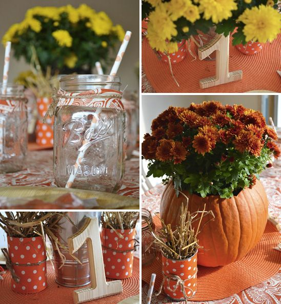 Centerpiece ideas fall birthday party pinterest