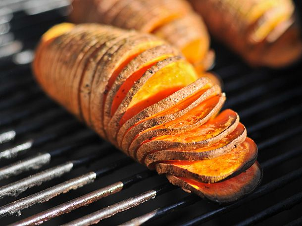 Grilled Hasselback Sweet Potatoes with Rosemary and Garlic | Serious ...
