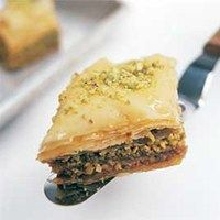 Cook's Illustrated - pistachio baklava with cardamom and rose water.
