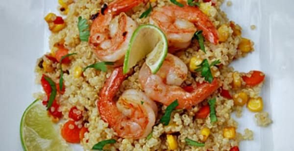 Ginger Lime Shrimp Quinoa with Red Pepper and Yellow Corn Recipe