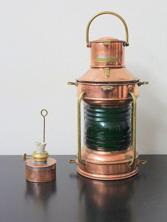 Beach Decor Brass and Copper Lantern Emerald Glass Vintage