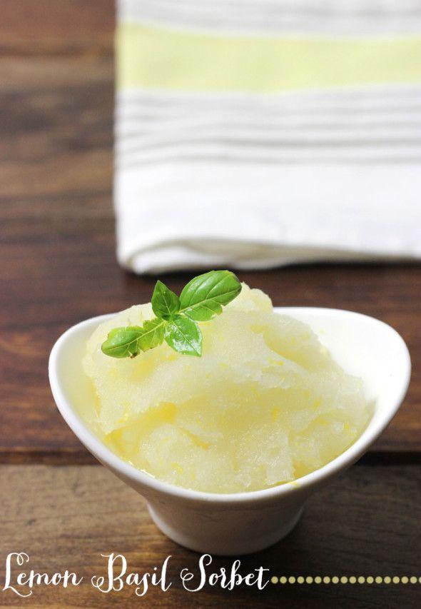 Sparkling Lemon Basil Sorbet: a light and refreshing summer dessert!