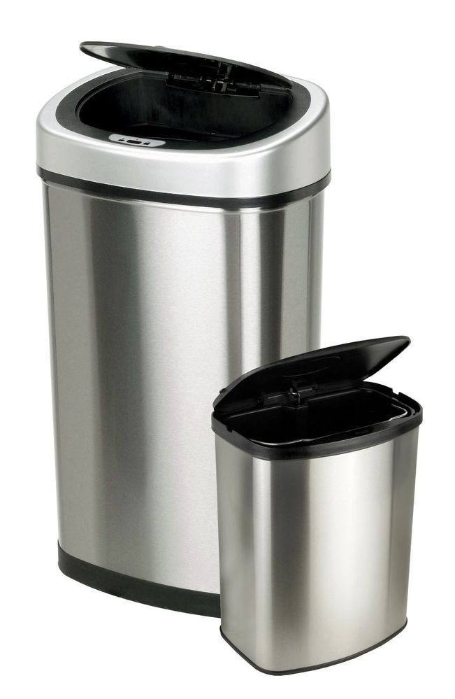 2 Touchless Lid Kitchen Garbage Trash Cans Stainless Steel Wastebaske