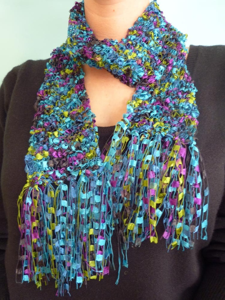 Knitting Pattern For Ladder Yarn Scarf : Turquoise, Purple and Green Trellis Ladder yarn hand knitted scarf