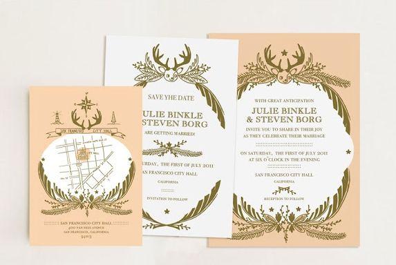 Illustrated Wedding Invitations - Rustic Wedding Chic