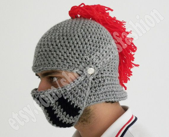 Knight Hat Knitting Pattern : Crocheted Knight Helmet Hat Crochet Slouch Mens Red Convertible Beani?
