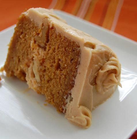 Pumpkin cake with brown sugar frosting.