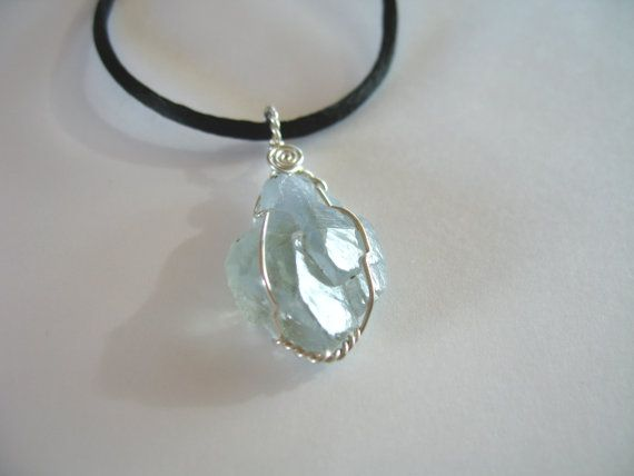 blue celestite pendant wire wrapped in sterling