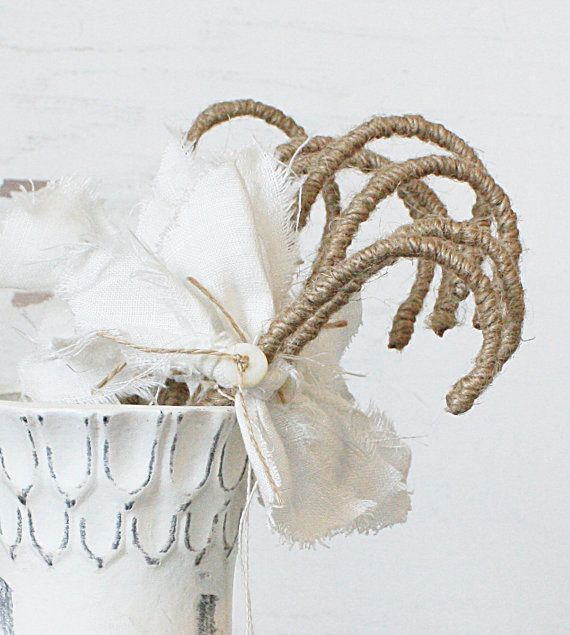 burlap candy canes...too cute...or could have a wonderful story about ...