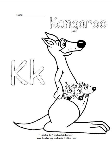 k for kangaroo coloring pages - photo#13