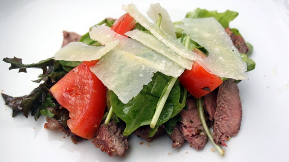 Rosemary-Garlic Steaks with Arugula, Tomatoes and Parmigiano Reggiano ...