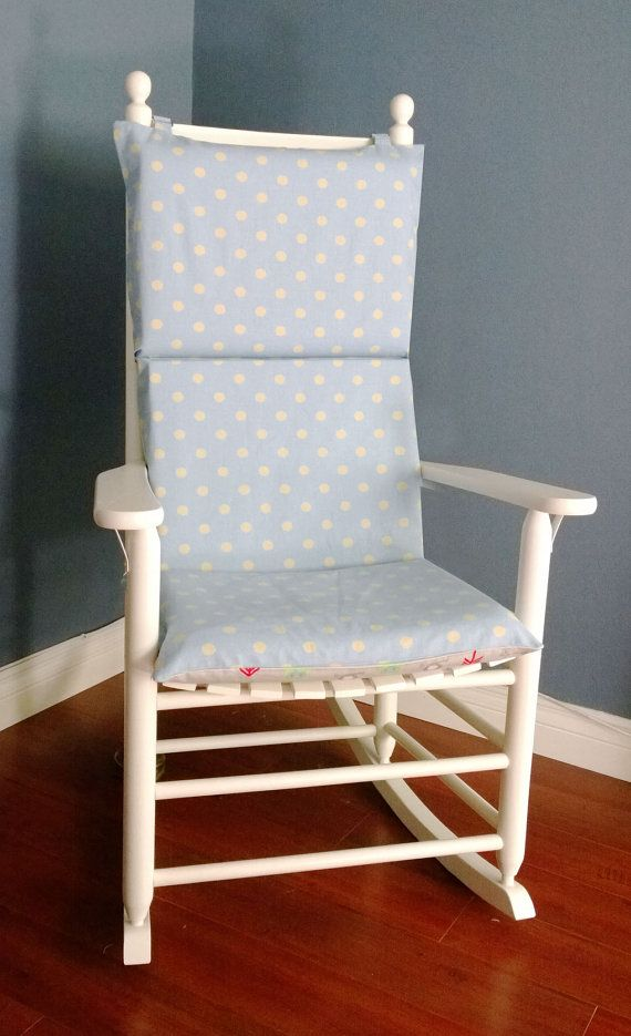 Rocking Chair Cushion Grey Owls Blue Polka Dot