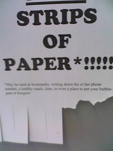 Free strips of paper