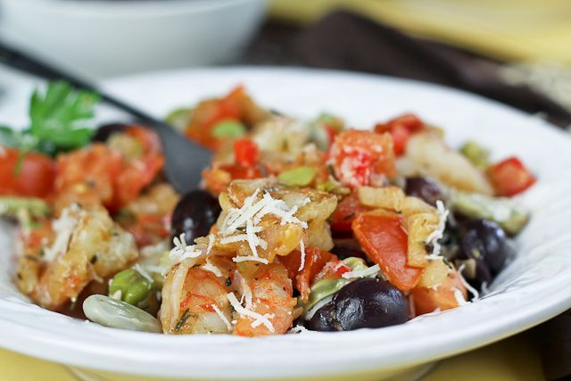 Shrimp and Fava Beans with Tomatoes and Kalamata Olives   Recipe