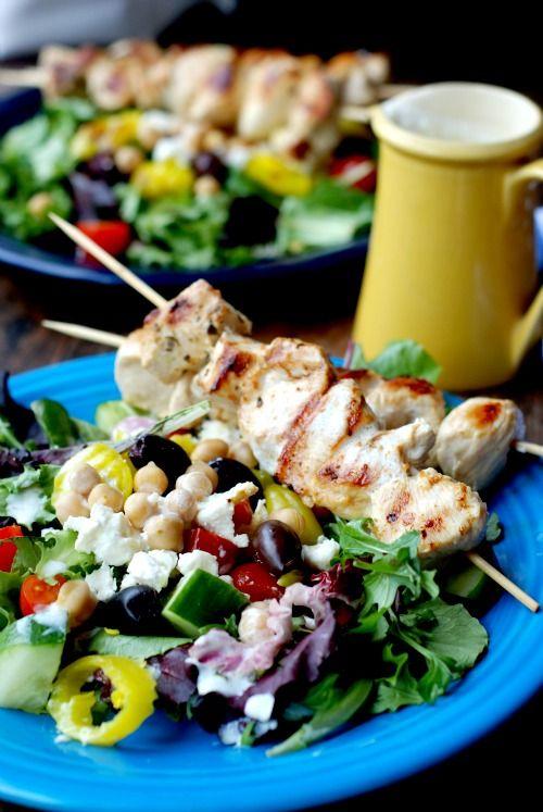 Greek Chicken Souvlaki Salad   Recipe