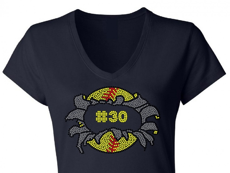 Bursting Softball With Custom Number Rhinestone T Shirt