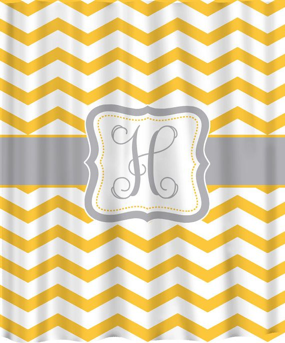 Personalized chevron shower curtain shown in yellow and marigold ve