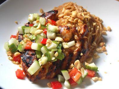 Cassie Craves: Spicy Chicken Peanut Noodles with Cucumber Sambal