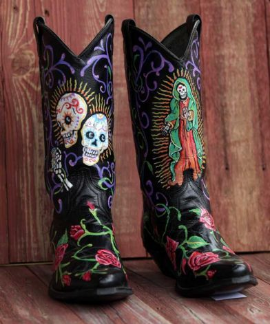 Model Painted Cowboy Boots For Women  Funky Hand Painted One Of A Kind