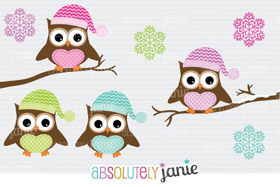 Winter Owls Clipart - Holiday Christmas Digital Clip Art - Colorful S ...