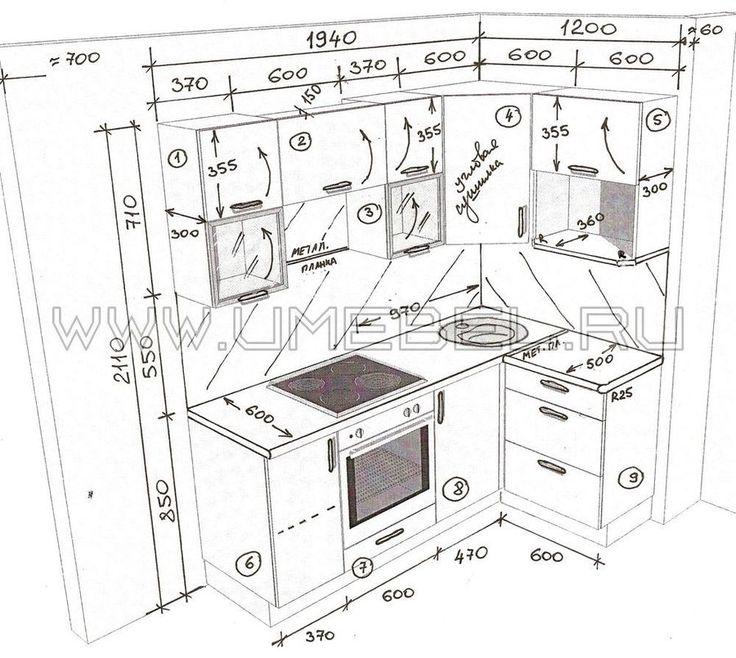 Чертежи и размеры кухонной мебели своими руками 93
