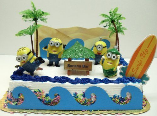Despicable Me Banana Bar Beach Scene Minion Birthday Cake Topper Set with Minions and Decorative Beach Accessories by Despicable Me, http://www.amazon.com/dp/B00EEX7TSK/ref=cm_sw_r_pi_dp_YBfGsb18S6ZM2