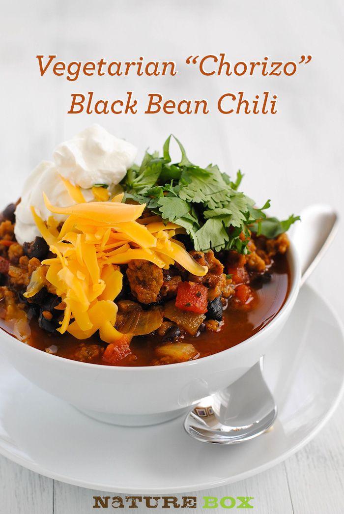 "Vegetarian ""Chorizo"" & Black Bean Chili (leave off dairy option..."