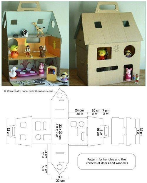 Картонный домик для кукол схема