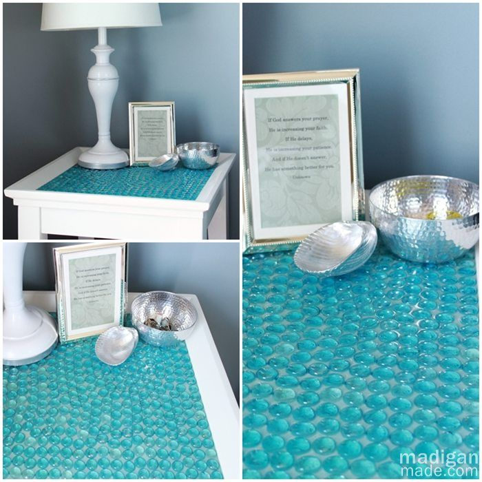 Paint a thrift store end table & glue dollar store glass marbles to the top!