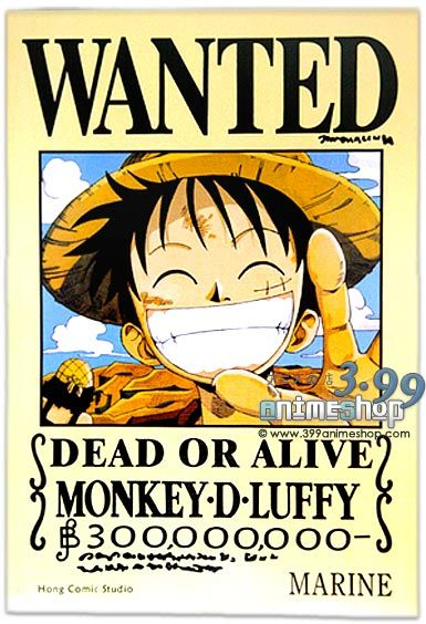 One Piece Monkey D  Luffy WANTED PosterOne Piece Luffy Wanted Posters