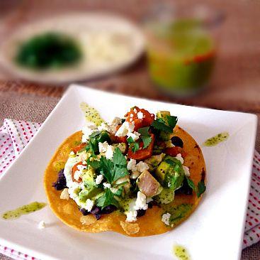 sweet potato tostados with a cilantro queso fresco sauce and cilantro ...