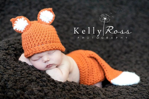 Crochet Fox Hat  with Matching Diaper Cover by ThisanThatBoutique, $25.00