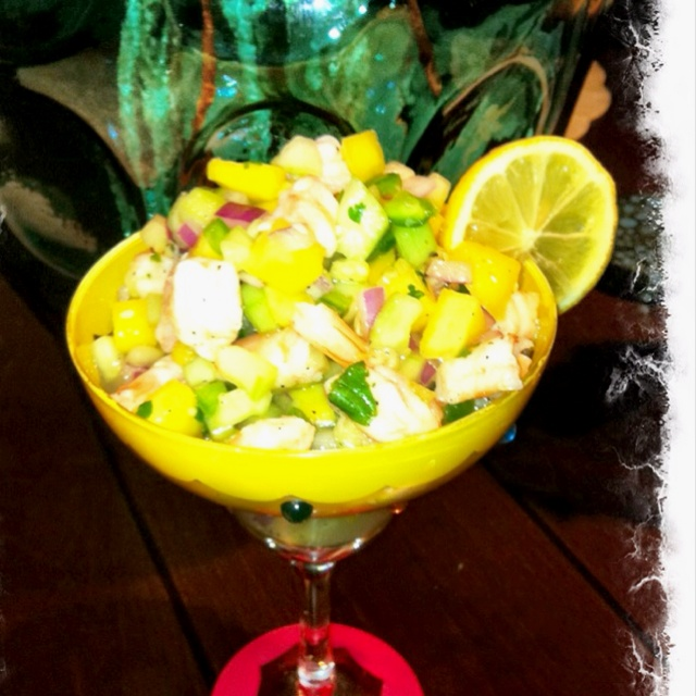 made Shrimp Ceviche with mango, cucumber, red onion, jalapeño ...