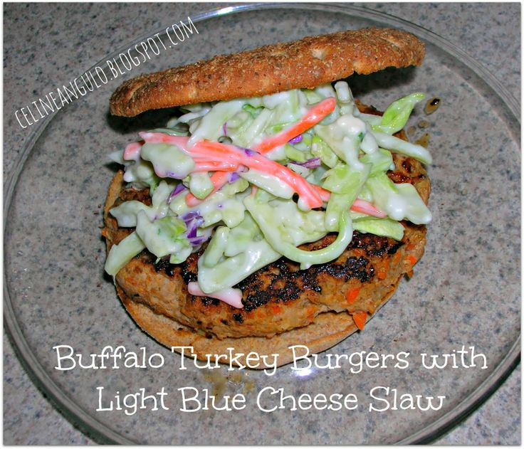 Buffalo Turkey Burgers with Light Blue Cheese Slaw #buffalo See more ...