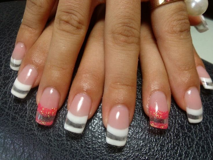 Gel clear nails | Clear Tip Designs | Pinterest