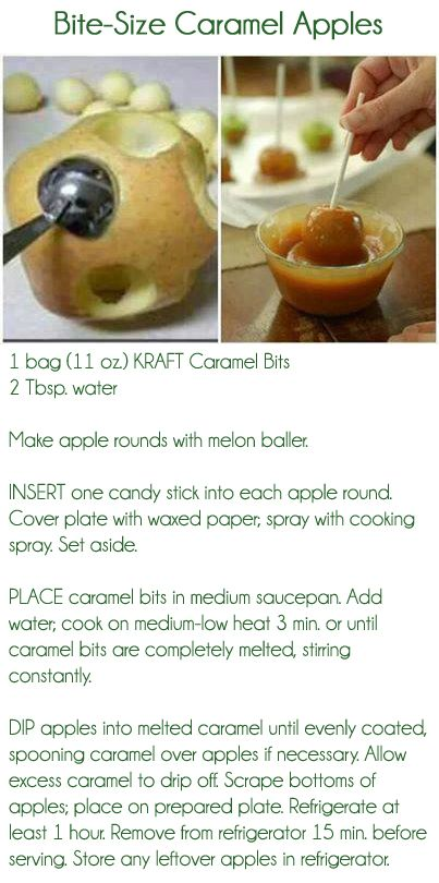 Bite Size Caramel Apples Recipe   Recipes   Pinterest