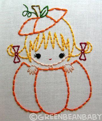 Pumpkin girl, Apple boy, Acorn girl Fall Friends Autumn Halloween Digital Embroidery Patterns. $3.50, via Etsy.