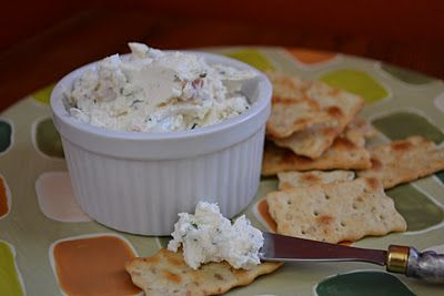 Goat cheese dip with fresh herbs...Sounds yummy