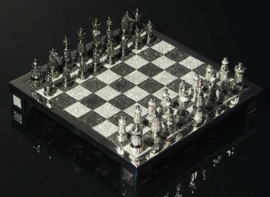 Bernard Maquin's Royal Diamond chess set is one of the most expensive chess sets in the world. It is made using 1168.75 grams of 14 carat white gold and approximately 9900 black and white diamonds.