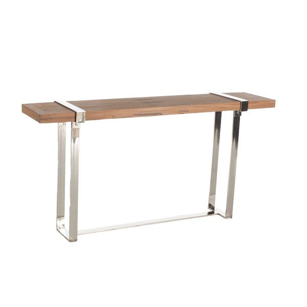 natural wood and chrome console table for the home ideas pinterest. Black Bedroom Furniture Sets. Home Design Ideas