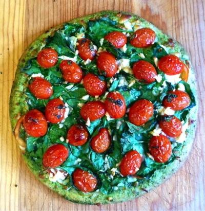 pizza: whole wheat dough, feta cheese, pesto sauce, tomatoes, basil ...