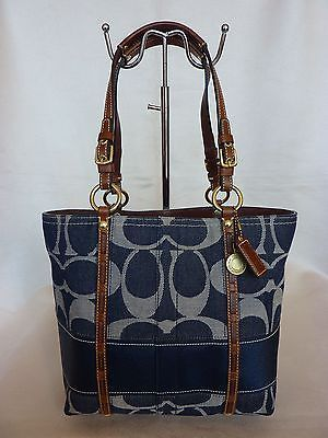 MINT COACH SIGNATURE BLUE JEAN NAVY DENIM BAG TOTE PURSE LEGACY STRIPE ...