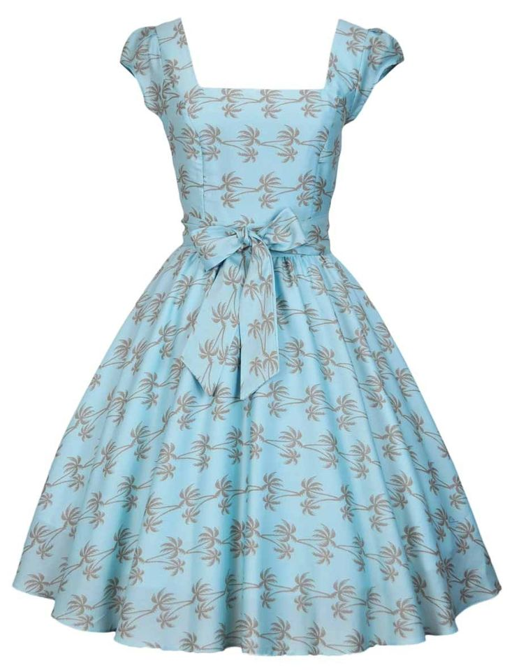 Blue Palm Print Swing Dress