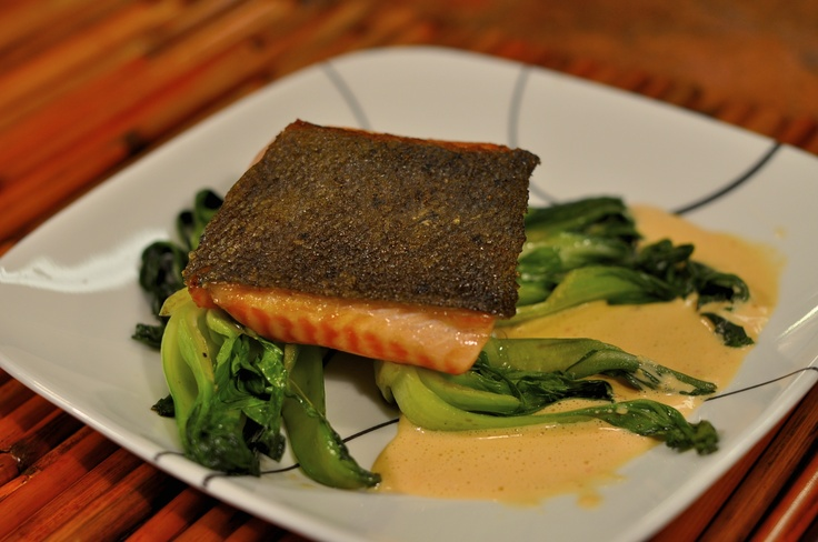 Pan Seared Salmon with Crispy Skin on Baby Bok Choy with Red Pepper ...