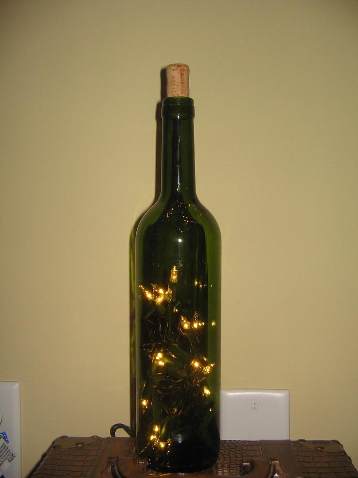 lighted green wine bottle diy kit wedding centerpiece home